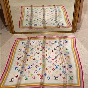 Louis Vuitton small white multi color scarf